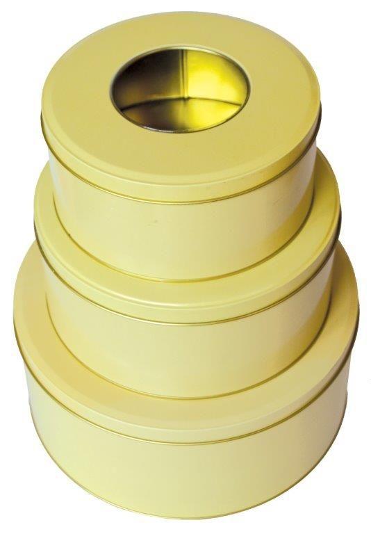 3-dílná kulatá plechová dóza s okénkem.Vhodné na cukroví č. 77/217527 SET