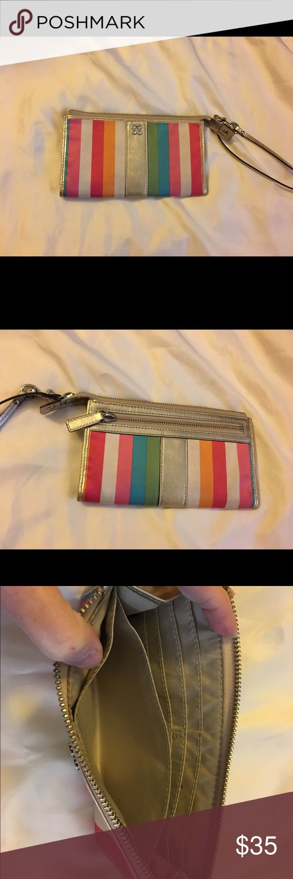 Coach Legacy Stripe Glam Wristlet So cute ladies Coach Legacy Stripe Glam Wristlet. Very nice condition. Larger size. Smoke free home. Thanks for the interest and God Bless Coach Accessories