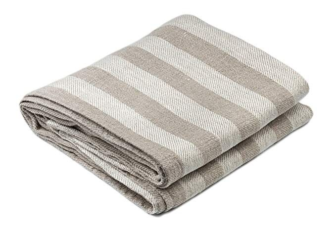 Bless Linen Jacquard Striped Pure Linen Bath Towel 30 X 58 Inches