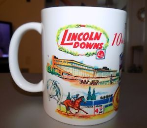 a lincoln downs horse trackgreyhound park twin rivers ceramic coffee cup nib