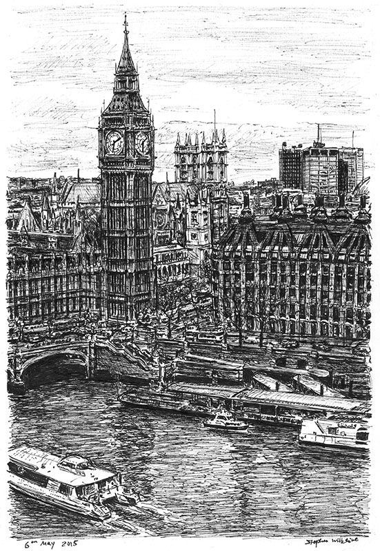 Big Ben and the River Thames - originals and prints by Stephen Wiltshire MBE