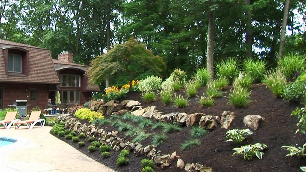 254 best images about garden slopes and terraces on for Sloped rock garden designs
