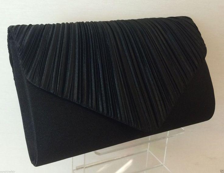 Black Pleated Satin Envelope Evening Clutch Bag