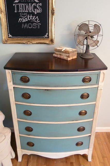 Shades of Blue Interiors - provence and old white with dark wax.  Love this!