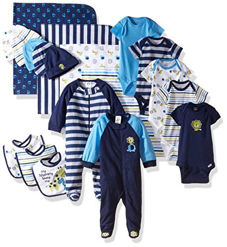 baby clothing | Gerber Boys' 19 Piece Essentials Gift Set, Safari, Newborn