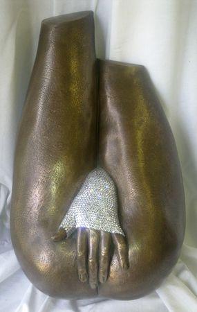 Midge Johansen   I'm Bad! - 2014   Cold-cast bronze with crystal diamonte (wall piece)   50cm (L) x 30cm (W) x 15cm (D)