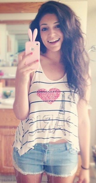 Bethany Mota ~~~ I love her outfit and phone case!! :) also she is my and everyone's inspiration lol