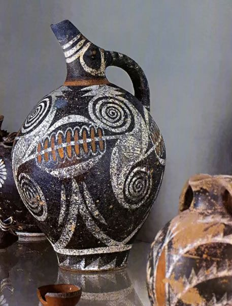 Kamares Ware beak spouted jug –  Phaistos, Crete Middle Minoan II 2000-1700 BC. The Mninoans actively traded with Egypt and had an influence on their art.