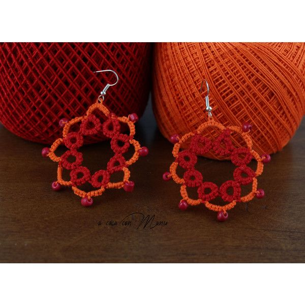Orecchini in pizzo chiacchierino, lace tatting earrings, orecchini... ($8.72) ❤ liked on Polyvore featuring jewelry, earrings, red jewelry, lace earrings, red earrings, lace jewelry and earrings jewellery