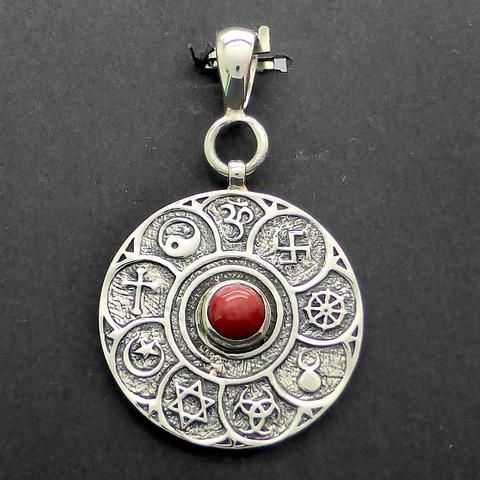 Red Coral Pendant with Multi Faith Symbols | 925 Sterling Silver Rose hand carved from natural red coral | Rosicrucian | Crystal Heart Melbourne since 1986