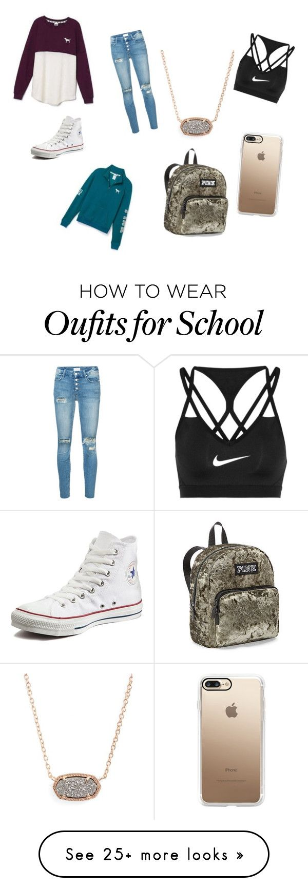 """""""""""popular"""" girls at my school"""" by oliviafouratt on Polyvore featuring Converse, Victoria's Secret, Mother, Kendra Scott, NIKE and Casetify"""