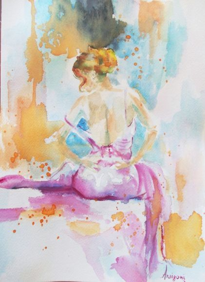 Poem - Original figurative watercolor painting