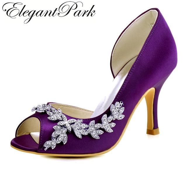 Woman Shoes Wedding High Heels Purple Pink Peep Toe Rhinestones