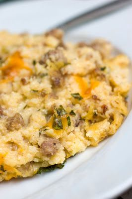 Sausage and Grits - Creamy, Cheesy and Decadent!Breakfast Brunches, Ground Sausage, Sugar Spices, Grits Casseroles, Healthy Snacks, Cheesy Sausage, Healthy Snack Recipes, Healthy Recipes, Snacks Recipe