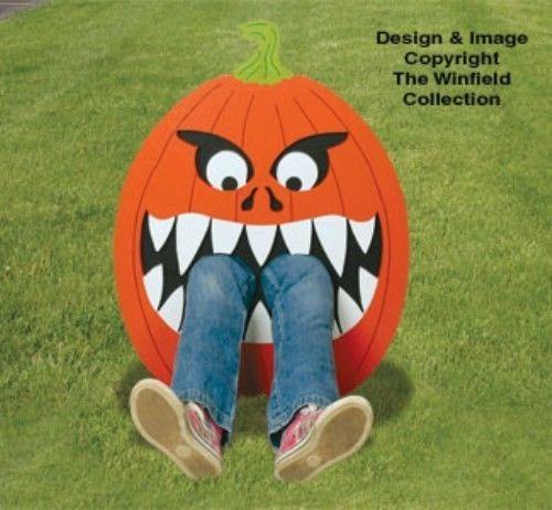 """**NEW** Halloween Wood Lawn Art Yard Ornament """"Hungry Pumpkin""""  28"""" x 22"""""""