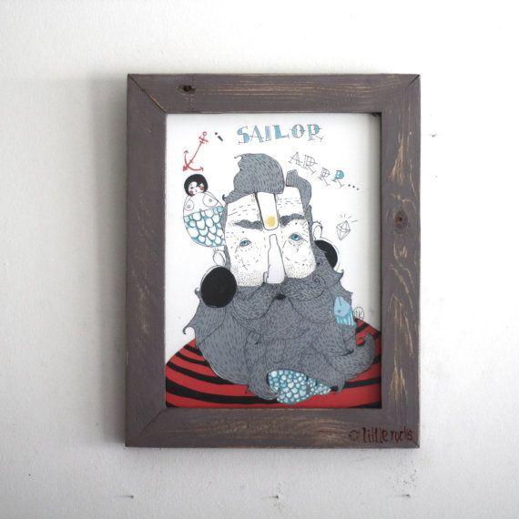 Son of the sea illustration framed art print  by littlerocksPK  http://littlerocksdesigns.com