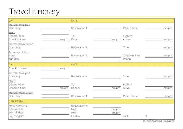 Free Printable - Travel Itinerary itineraries, etc Travel
