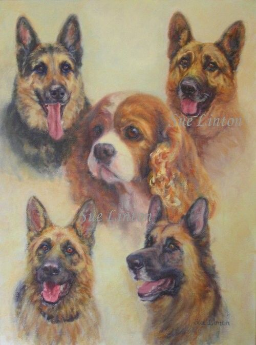 An Oil pet portrait created as a gift for a friend.Many of the dogs had passed on.