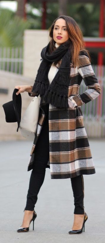 Camel Multi Checkered Coat                                                                             Source