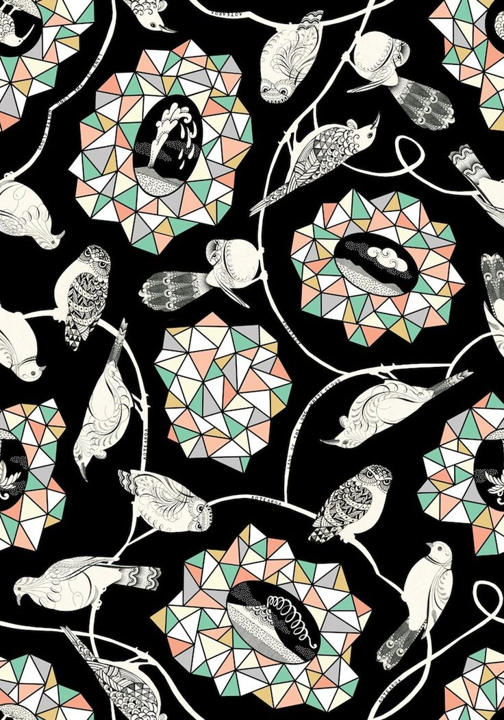 NZ birds and facet gift wrap by Wolfkamp & Stone, published by Live Wires NZ Ltd