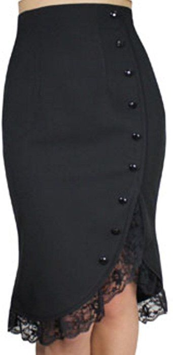 CS -Lacey Tulips- Vintage Style 40s 50s Retro Black Lace Ruffle Pencil Skirt (XS) at Amazon Women's Clothing store: