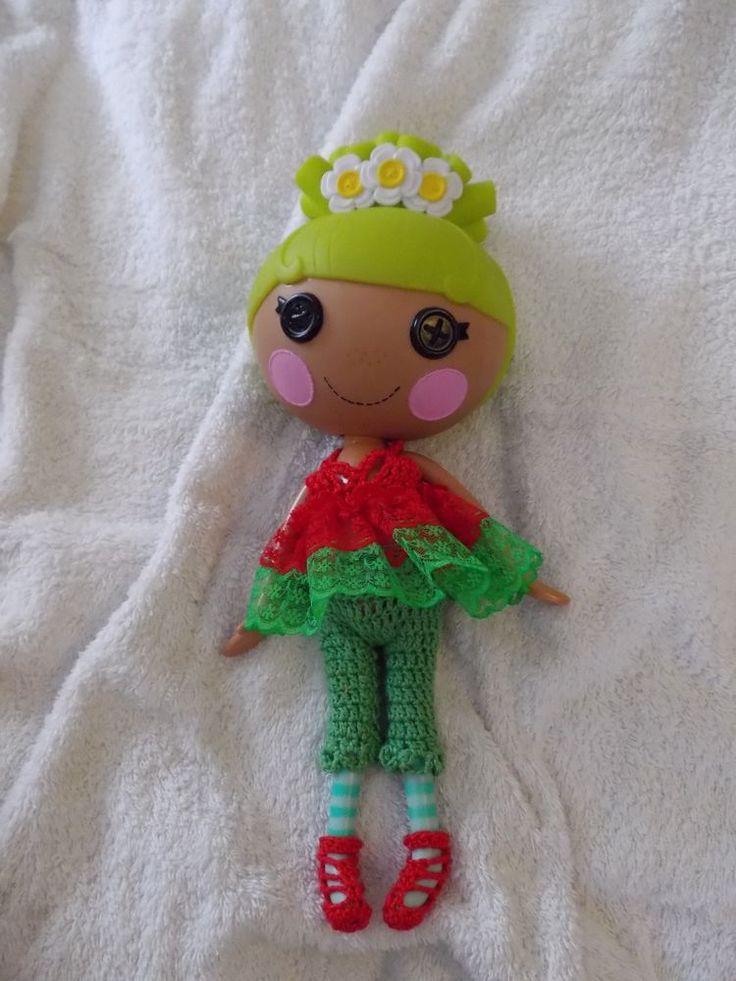 Crochet red top and green pants set Doll Clothes fits big sister lalaLoopsy