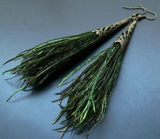 kolczyki - pióra-pawiki antyczne