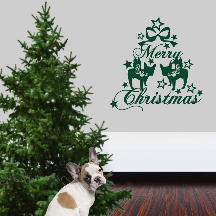 Christmas Dog Wall Decal French Bulldog, Dogs Angels - Good for Walls, Cars, Ipads, Mirrors Etc by PSIAKREW on Etsy