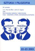 Wydawnictwo Naukowe Scholar :: :: 2003 SZTUKA I FILOZOFIA t. 22- 23