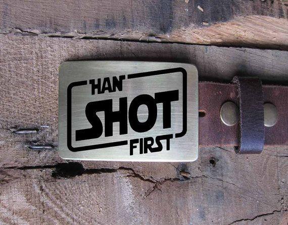 Belt Buckle Han Solo Shot First STAR WARS Brass or Copper