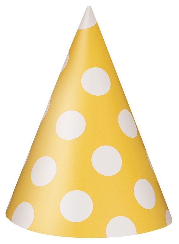 Yellow Polka Dot Party Hats  Qty 8 by FunWithPearl on Etsy