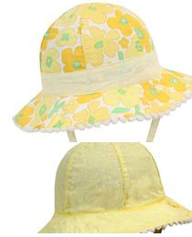 Baby Madison Floppy - Reversible   The colour of this hat is just gorgeous. It is fully reversible 100% cotton. One side has a gorgeous yellow & lemon floral print. While the second side is lemon with small white polka-dots.