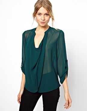 Image 1 ofASOS Blouse With Detail Front And Drop Neck