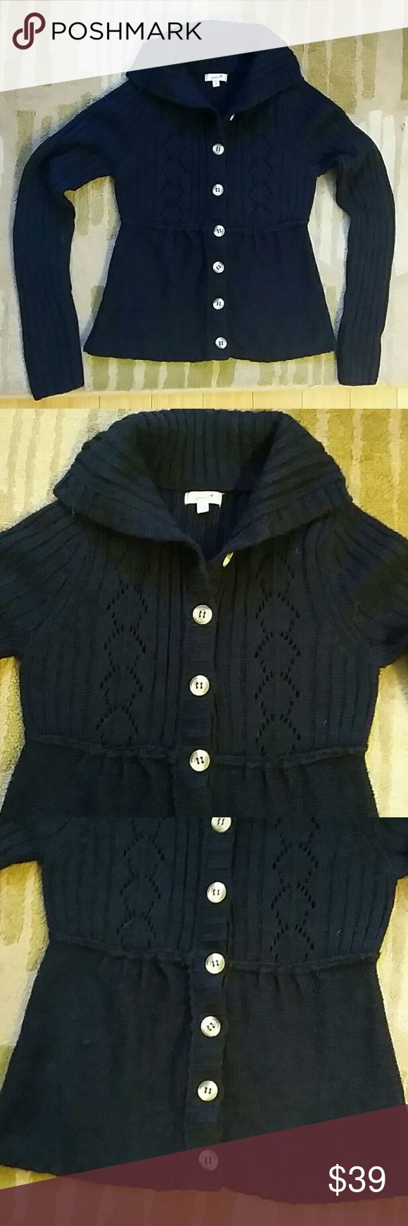 WEEKEND SALE! Navy Pointelle Cardigan Sweater Navy Blue Crochet Style Pointelle Sweater Cardigan Size medium Cream Colored Buttons down front closure High neck collar, worn folded over Babydoll style, fitted cut  Classic Preppy Collared Neckline, button closure. Perfect throwback cardigan sweater for fall/ autumn/ winter staples. Wear to school, wear to work, wear to the ski slopes :-)  Bundle discounts, offers welcome! Grane Sweaters Cardigans