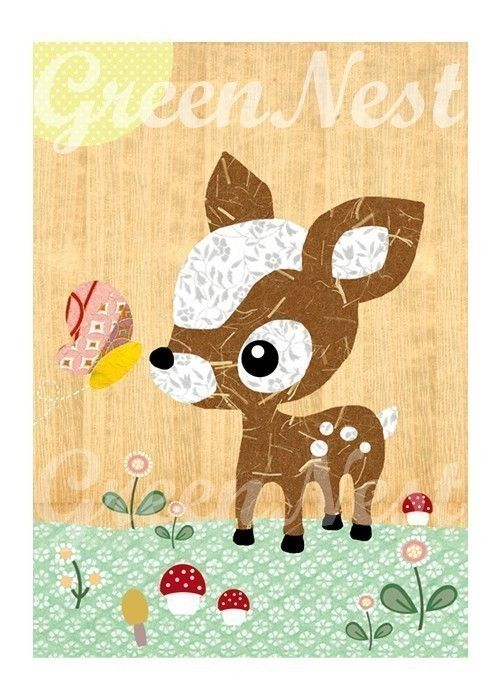 Cute forest friends -  Deery and Butterfly  collage poster  print on wooden background, nursery art. , via Etsy.