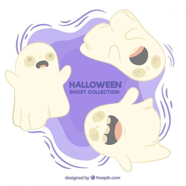 Fantasmas bonitos com estilo desenhado à mão Vetor grátis