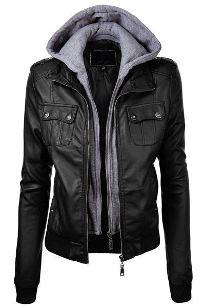 Fashionable Hooded Pocket Design Black Faux Leather Jacket For Women
