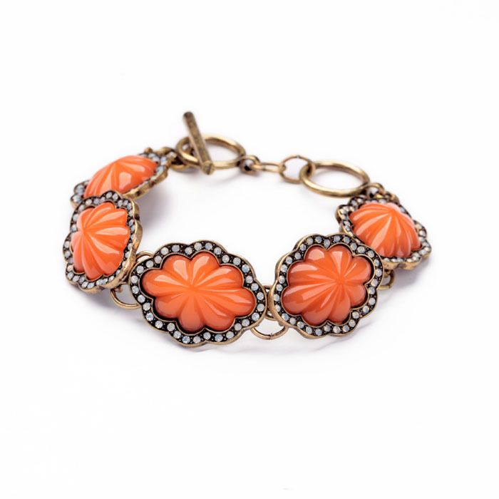 November 11 Big Promotion Antique Gold Toggle clasps Orange Flower Usual Bracelet-in Charm Bracelets from Jewelry on Aliexpress.com   Alibaba Group