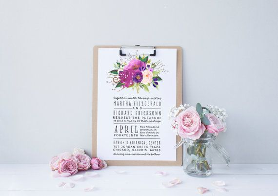 Watercolor Boho Wedding Invitation Suite // Chic, Modern, Country, Calligraphy, Invite Kit, Printable .... Love the purple palette! Beautiful for a Spring or Summer wedding.