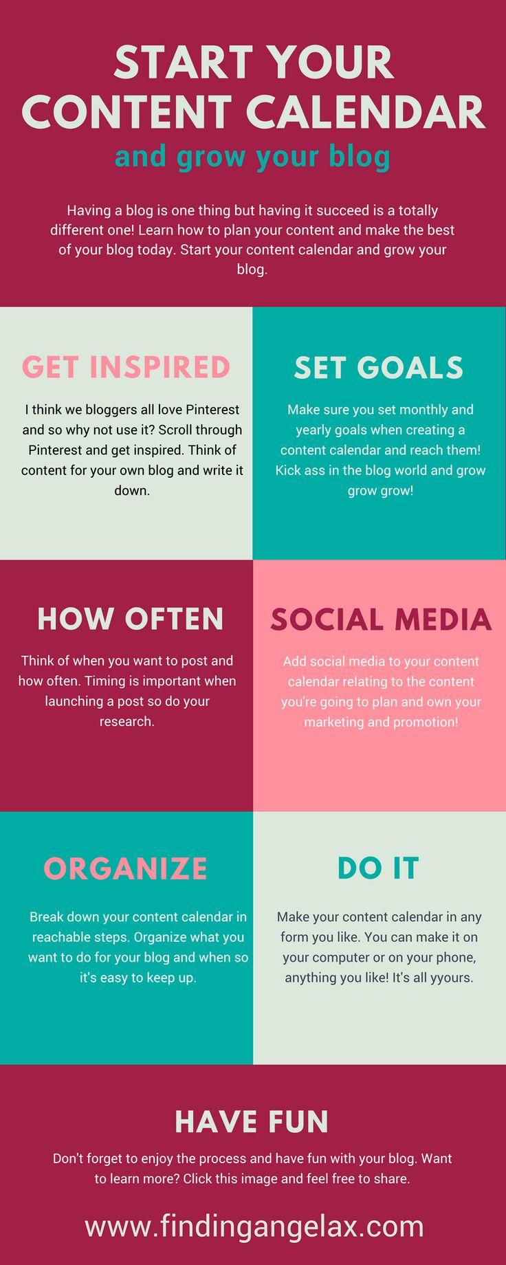 Start your content calendar and grow your blog social media