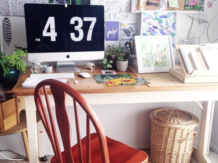 Renee Riotto's art studio at home, where she can create paintings, drawings, paper cuttings, and keep updating her blog and online shop. #art #studio #artstudio #studiospace #indoorstudio #interiordesign #indoorplants #plants #photooftheday #renee #riotto #reneeriotto #instagramideas #vintage #deskspace #studymotivation #studylife #studyblogger #studygram #studyspace #behindthescenes #studyspot #minimalmood #studyblr #studymotivation #studyspo #imac #applecomputer #apple #home #homestudio