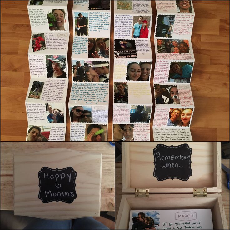 6 month gift for my boyfriend. I used chalk board stickers for the box. I cut out printed pictures to fit on the stock paper which I cut, glued, and f…