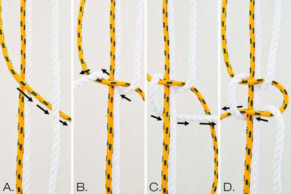 DIY Two-Tone Sail Rope Hammock - how to tie the knots