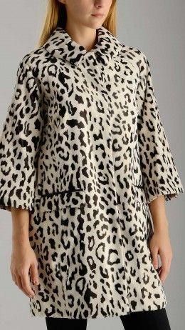 Fur effect animal printed coat