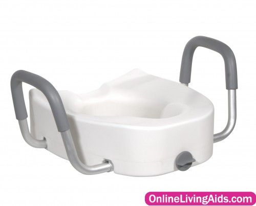 Drive Medical - 12013 - Premium Plastic Raised Toilet Seat with Lock and Padded Armrests, Elongated