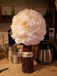 ceremony decor - coffee filters, styrofoam ball, and painted bbq skewers!