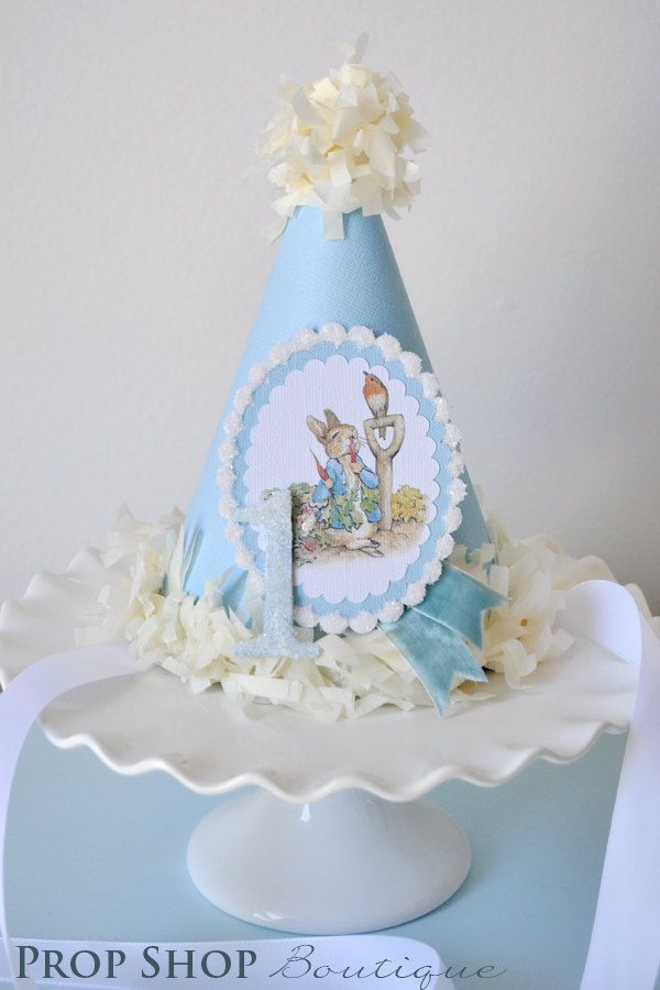 Peter Rabbit Birthday Party Hat, Special Occasion, Photo Prop. $28.00, via Etsy.