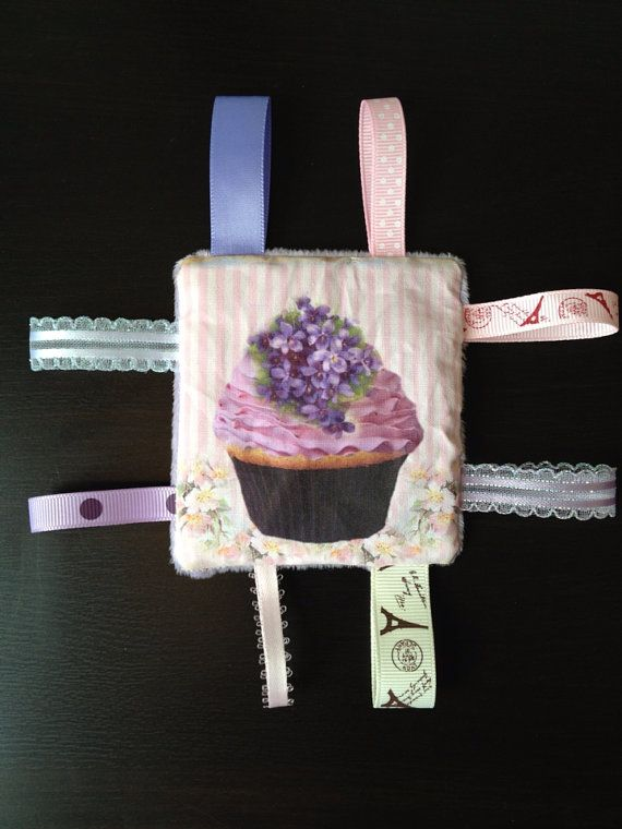 Cupcake couture baby tag toy  vintage by CraftyKittyBoutique