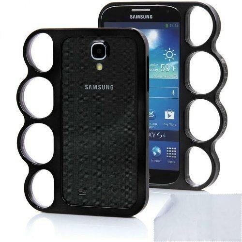 BLACK CHROME Brass Knuckles Cover Case Samsung Galaxy S4 SIV T-Mobile Sprint