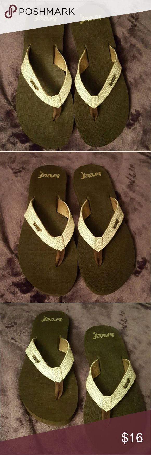 Reef Flip Flops Womens Sz 8 great condition Women's reef flip flops size 8 brown with white with gold shimmers in the leather strap Reef Shoes